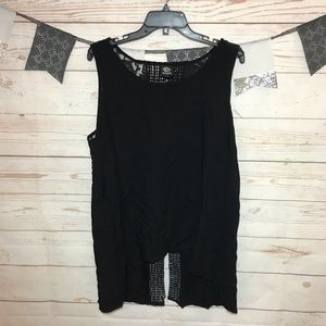 Bobeau Black Tank Top Crochet Split Back Plus 1X